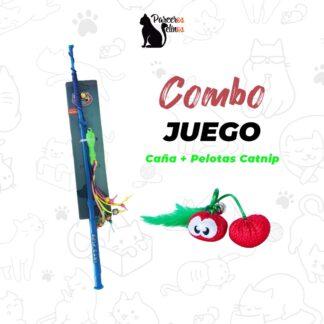 COMBO JUEGO CAÑA + PELOTAS CATNIP parceros felinos
