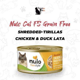 NULO CAT FS GRAIN FREE SHREDDED-TIRILLAS CHICKEN & DUCK LATA 3 OZ - 85 GR