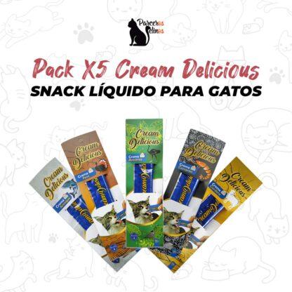 Pack X5 Cream Delicious Snack Líquido para gatos