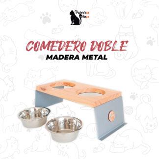 Comedero Doble Madera Metal